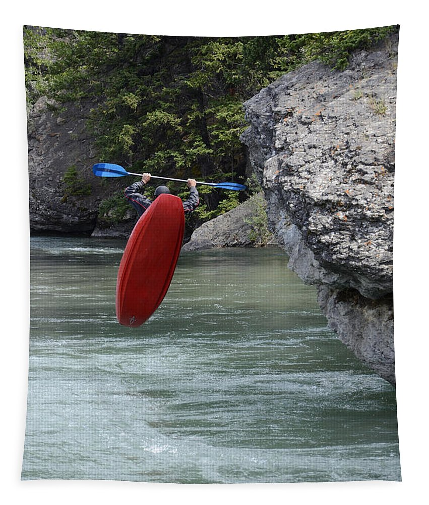 White Water Tapestry featuring the photograph Dropping In by Bob Christopher