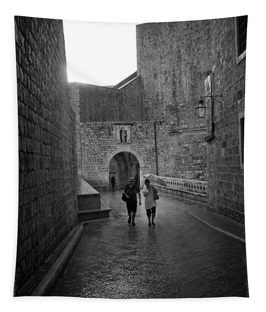 Dubrovnik Tapestry featuring the photograph Dubrovnik In The Rain by Madeline Ellis