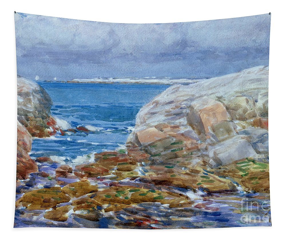 Seascape; Sea; New Hampshire; Atlantic Coast; Coastal; Rocky; American Impressionist; The Ten Group; Seascape Tapestry featuring the painting Duck Island by Childe Hassam