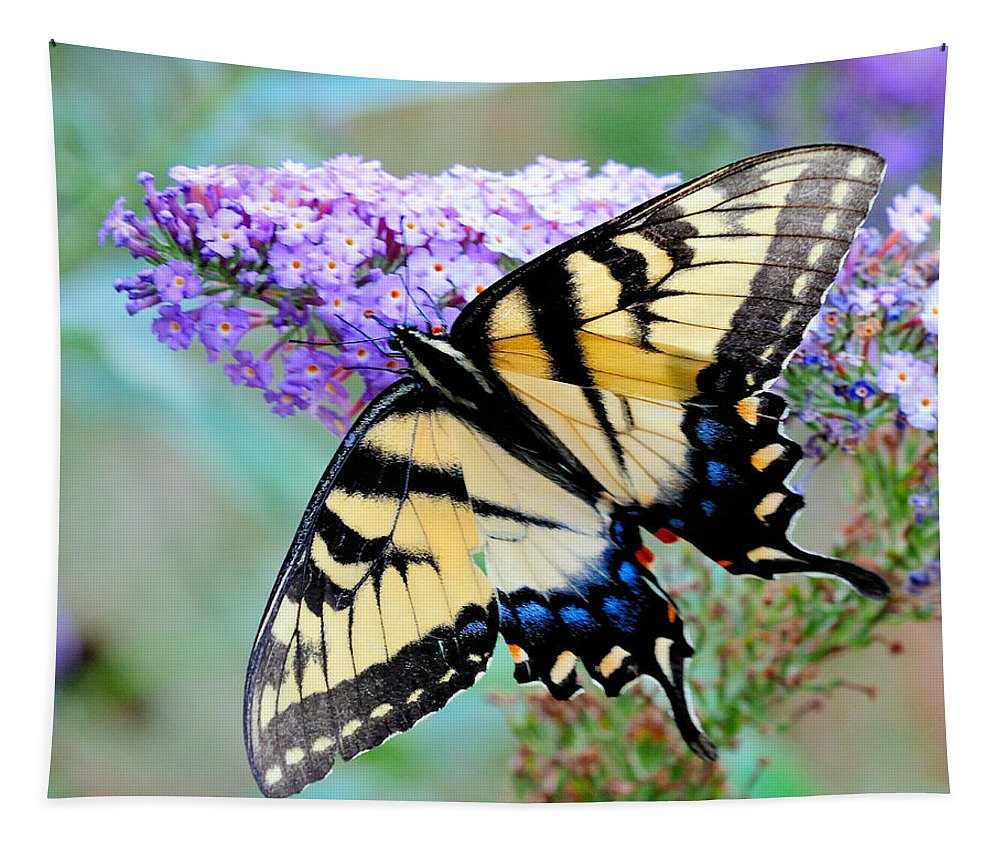 Butterfly Tapestry featuring the photograph Eastern Tiger Swallowtail On Butterfly Bush by Craig Leaper