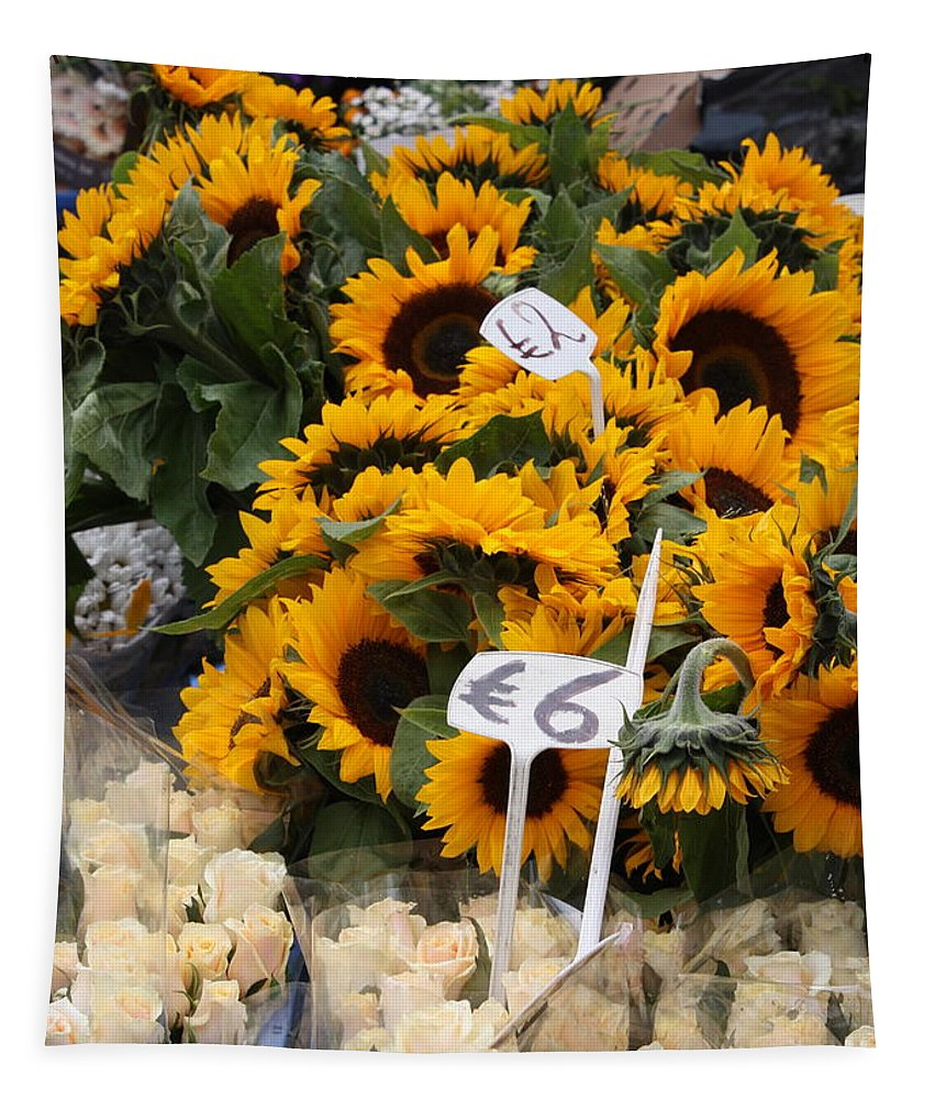 Market Tapestry featuring the photograph European Markets - Sunflowers And Roses by Carol Groenen