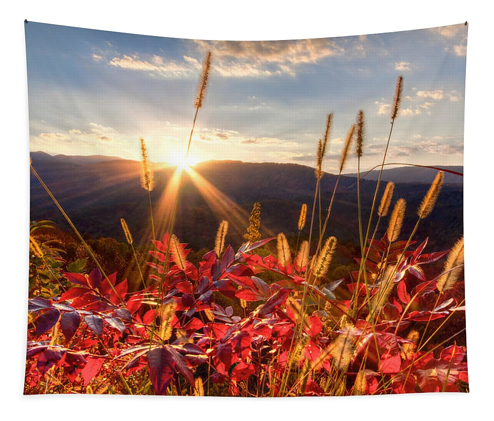 Appalachia Tapestry featuring the photograph Evening Fire by Debra and Dave Vanderlaan