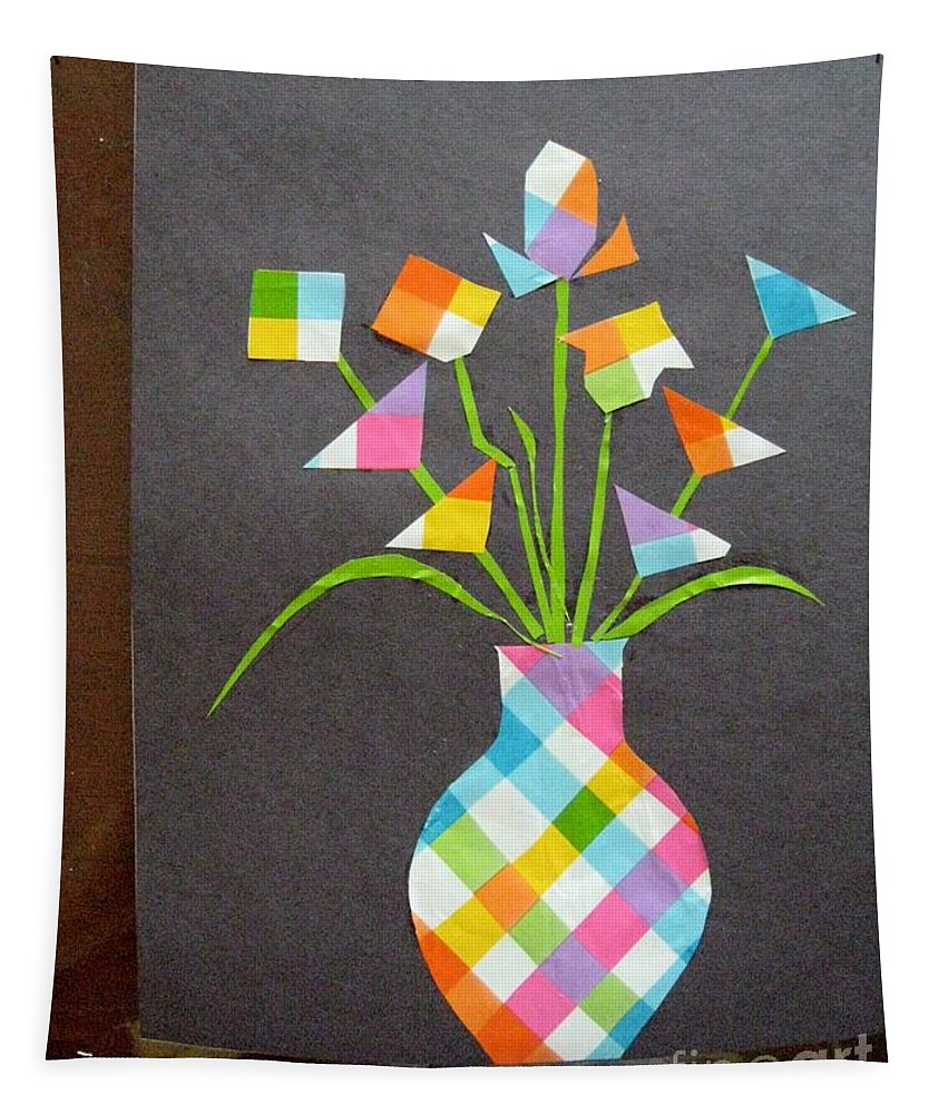 Life Of A Vase Tapestry featuring the mixed media Express It Creatively by Sonali Gangane