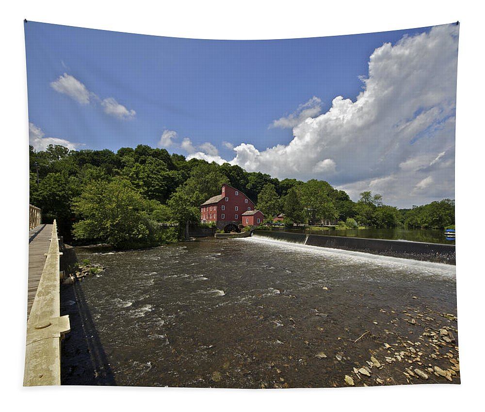 Attraction Tapestry featuring the photograph Faded Red Water Mill On The Dam Of The Raritan River by David Letts