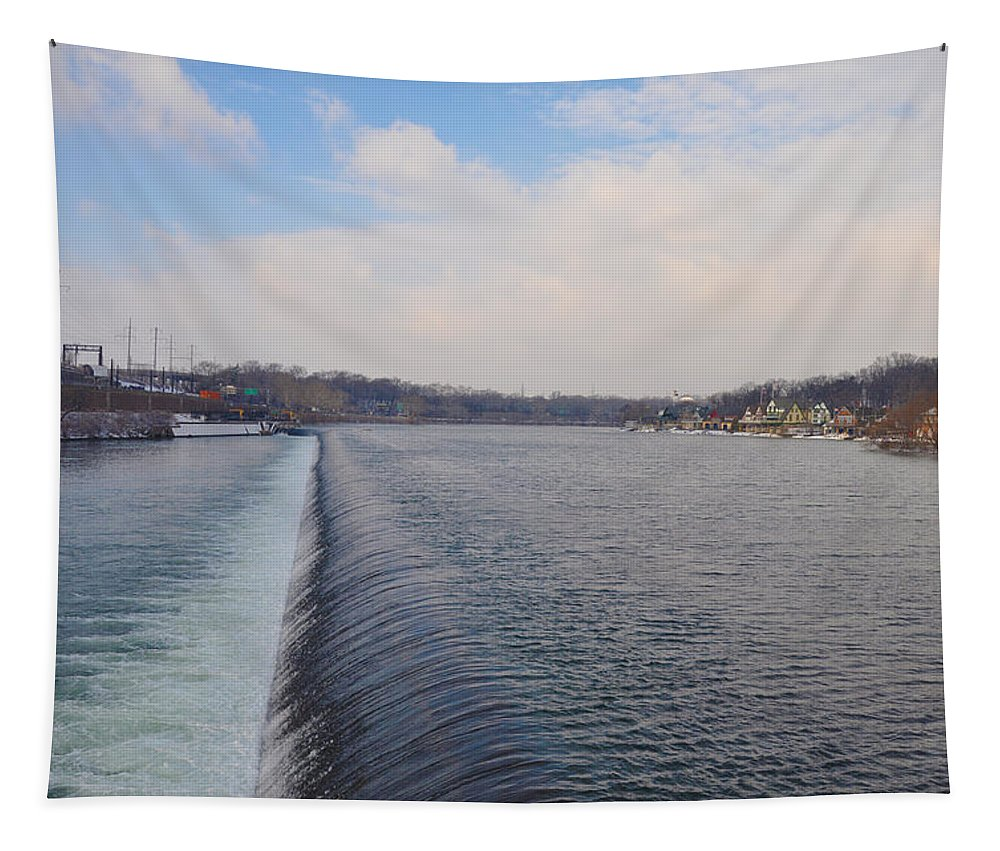 Fairmount Tapestry featuring the photograph Fairmount Dam And Boathouse Row - Philadelphia by Bill Cannon