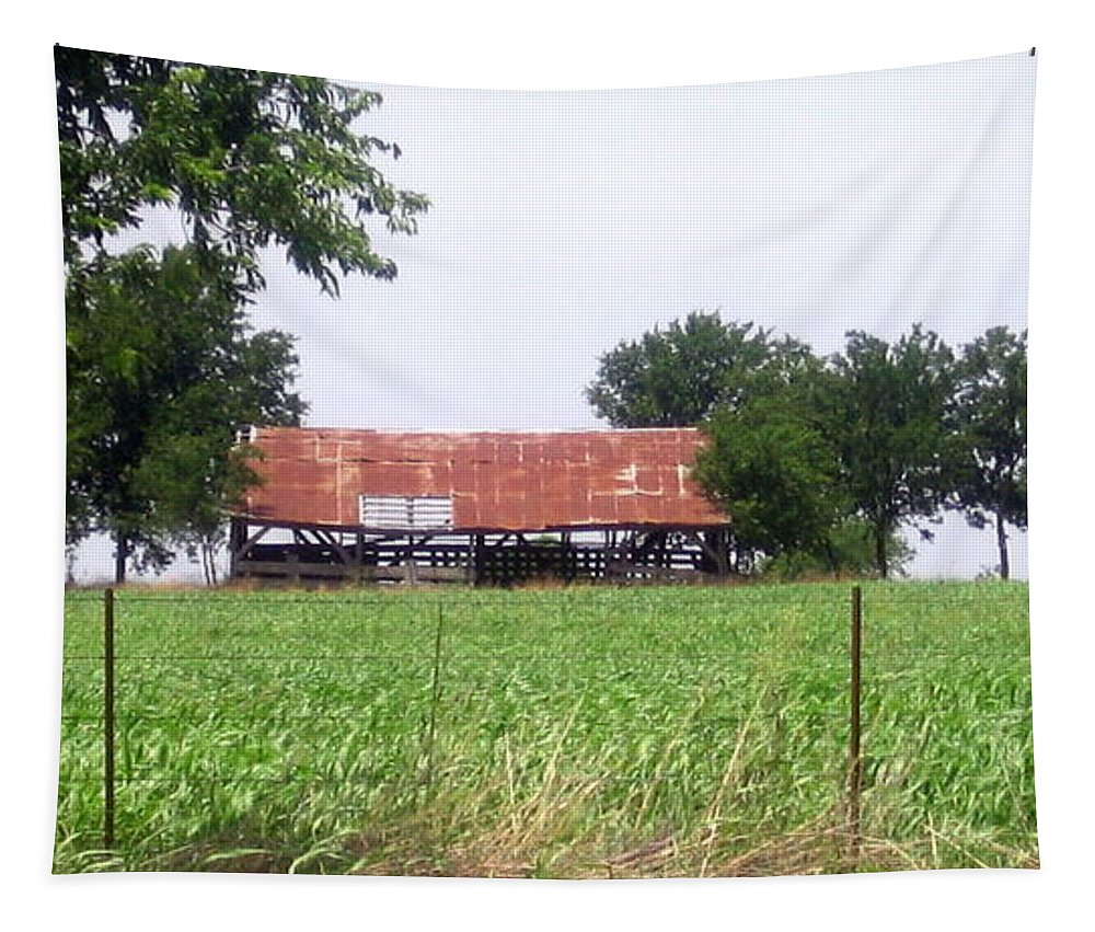 Country Tapestry featuring the photograph Feeding Barn by Amy Hosp