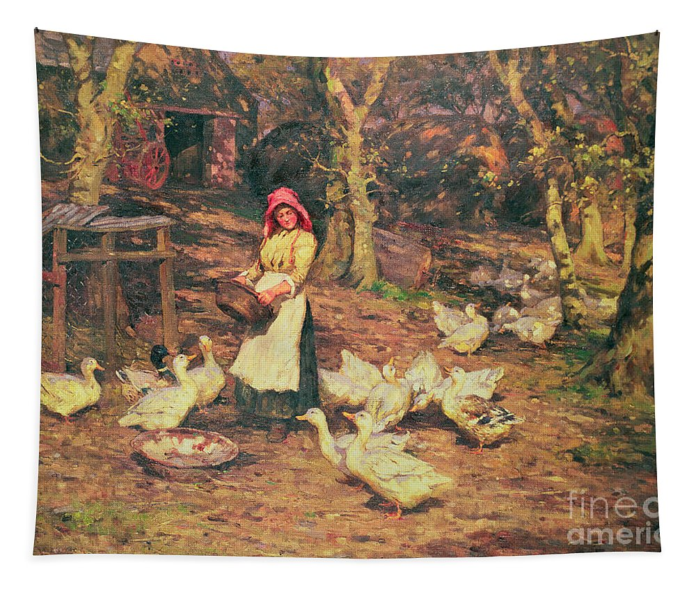 Bonnet; Geese Tapestry featuring the painting Feeding The Ducks by Joseph Harold Swanwick