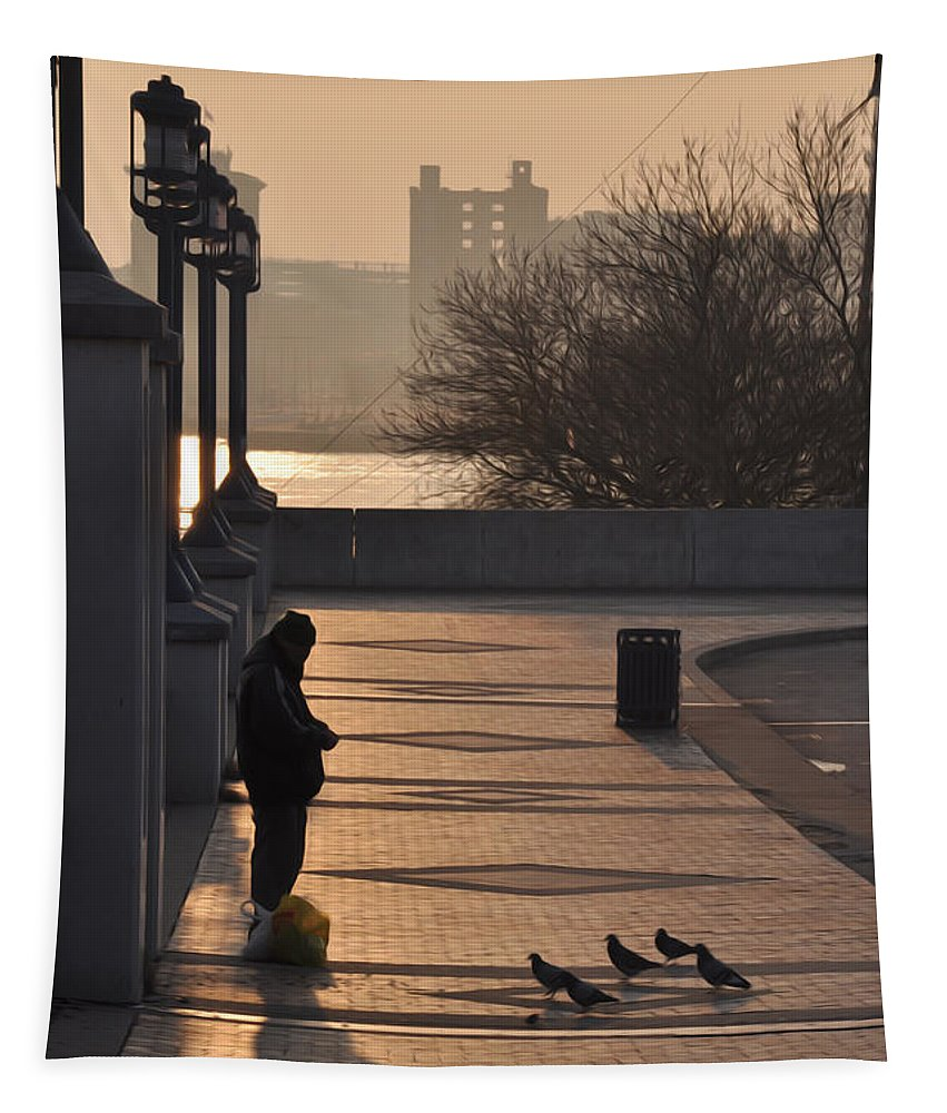Feeding The Pigeons At Dawn Tapestry featuring the photograph Feeding The Pigeons At Dawn by Bill Cannon