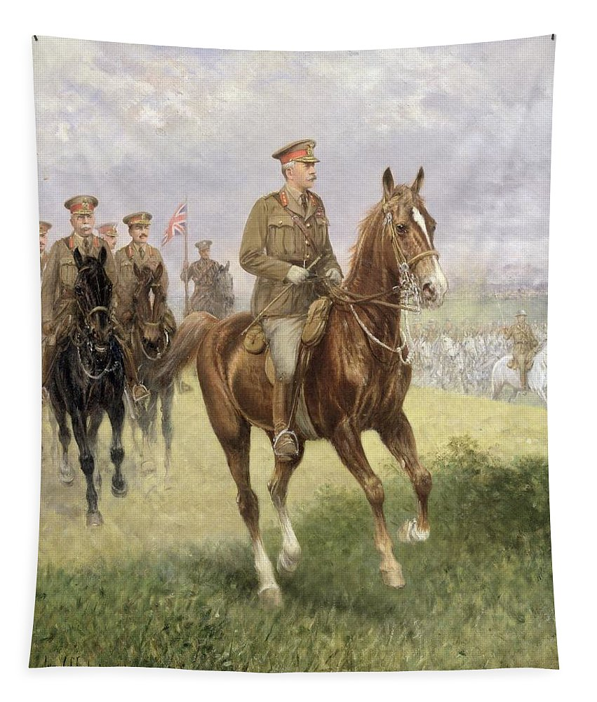 Field Tapestry featuring the painting Field Marshal Haig by Jan van Chelminski