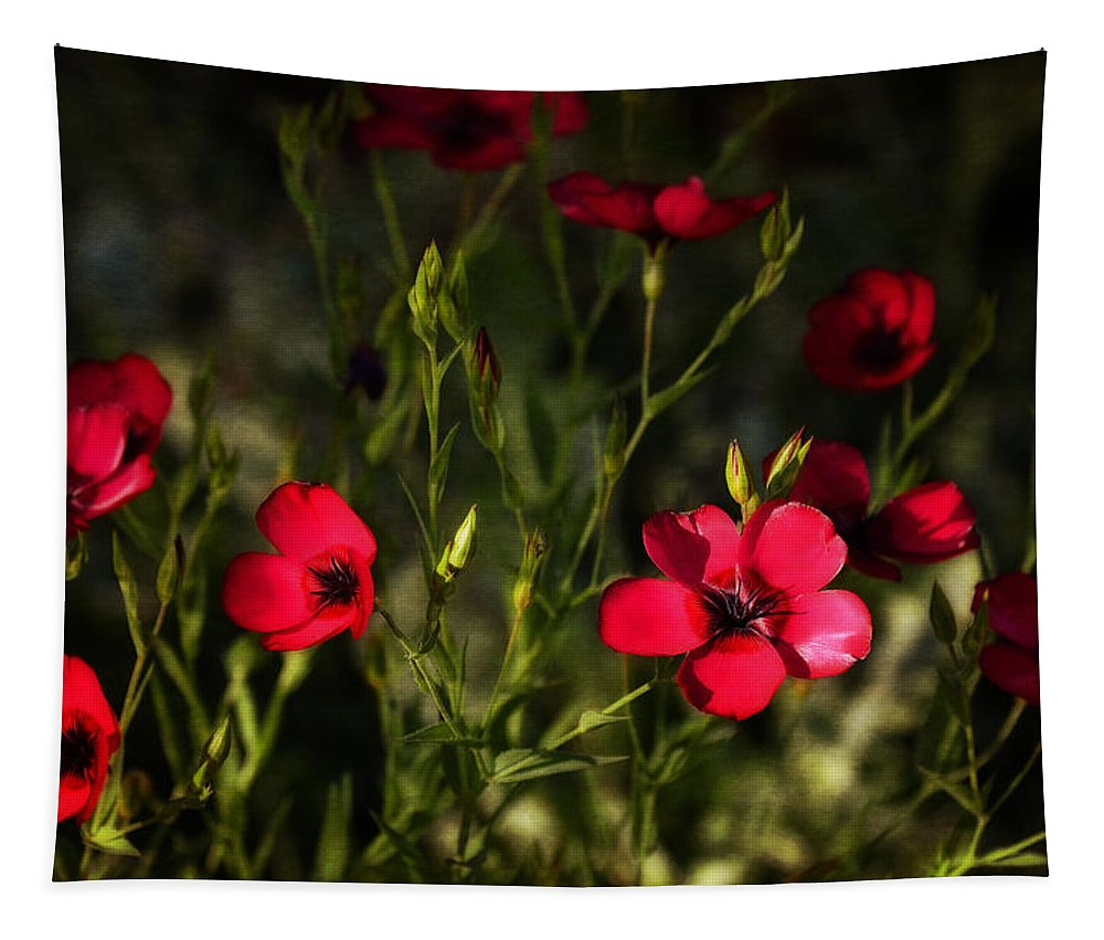 Red Flax Tapestry featuring the photograph Field Of Wildflowers by Saija Lehtonen