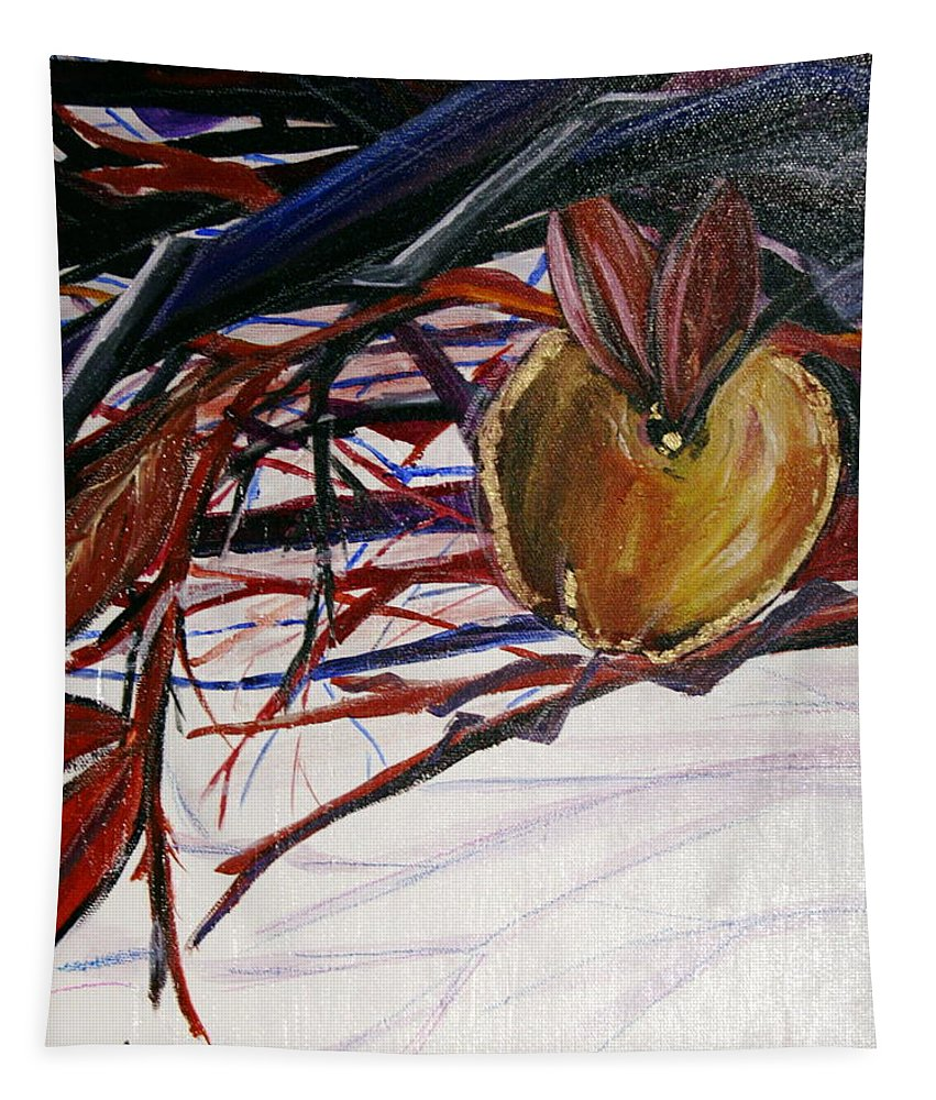 Apple Tapestry featuring the painting Fifth World One by Kate Fortin