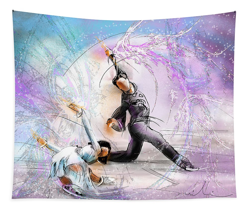 Sports Tapestry featuring the painting Figure Skating 02 by Miki De Goodaboom