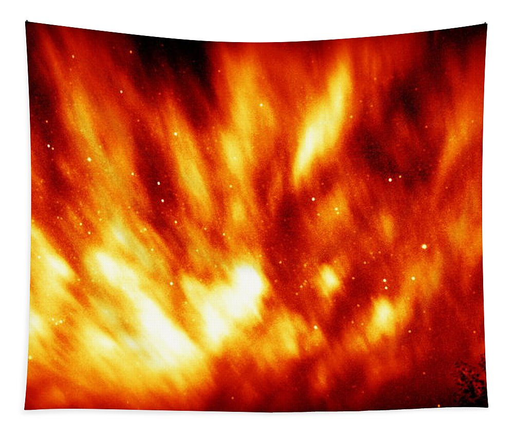 Fire Tapestry featuring the photograph Fire In The Starry Sky by Paul Wilford