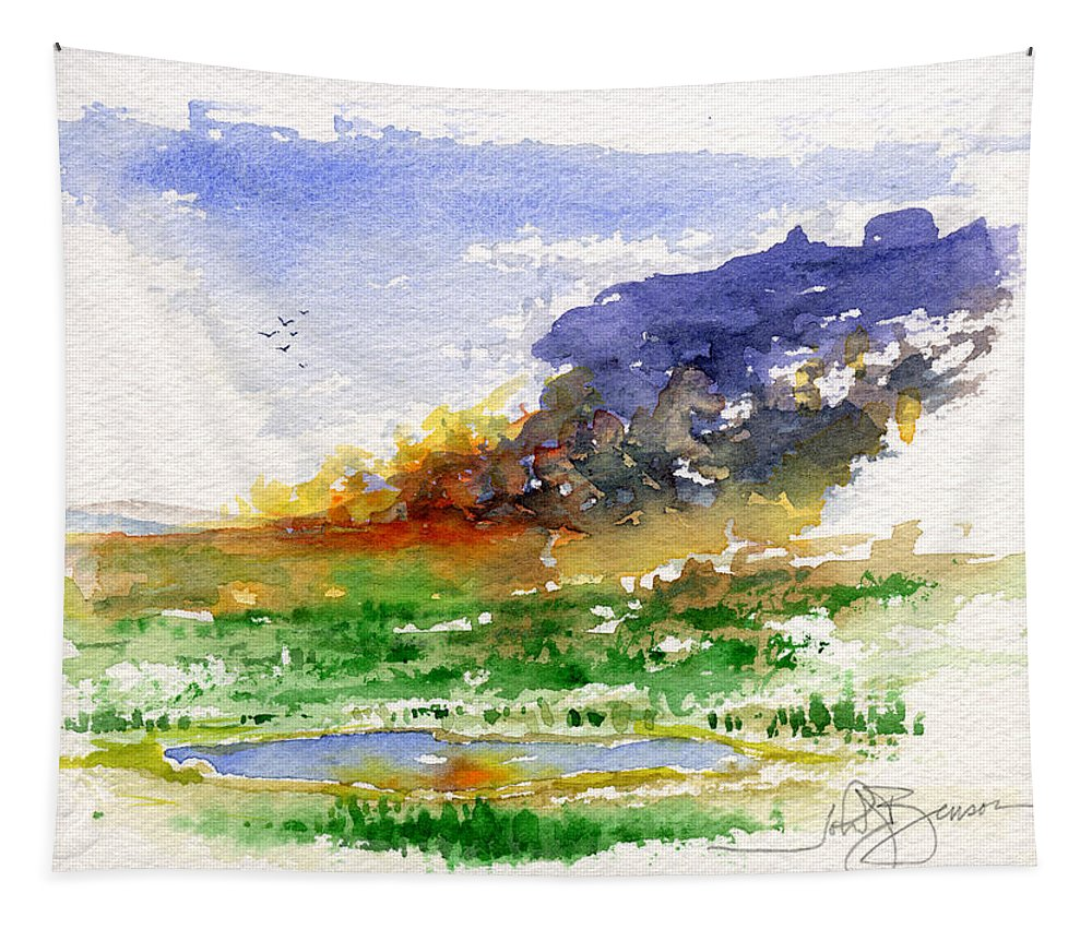 Fire Tapestry featuring the painting Fire On The Pond by John D Benson