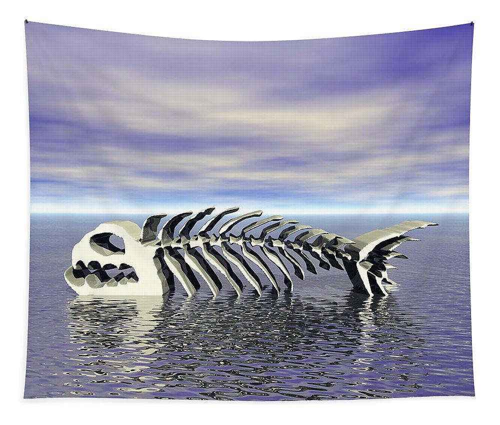 Fish Tapestry featuring the digital art Fish Bones by Phil Perkins