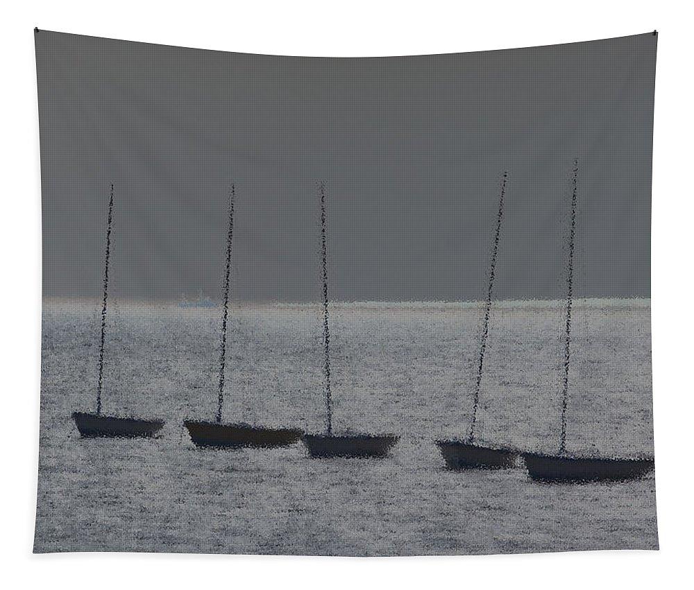 Fishing Boats Tapestry featuring the digital art Fishing Boats Art by David Pyatt
