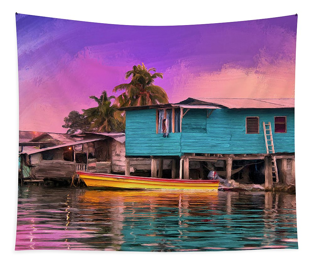 Fishing Camp Tapestry featuring the painting Fishing Camp Twilight by Dominic Piperata