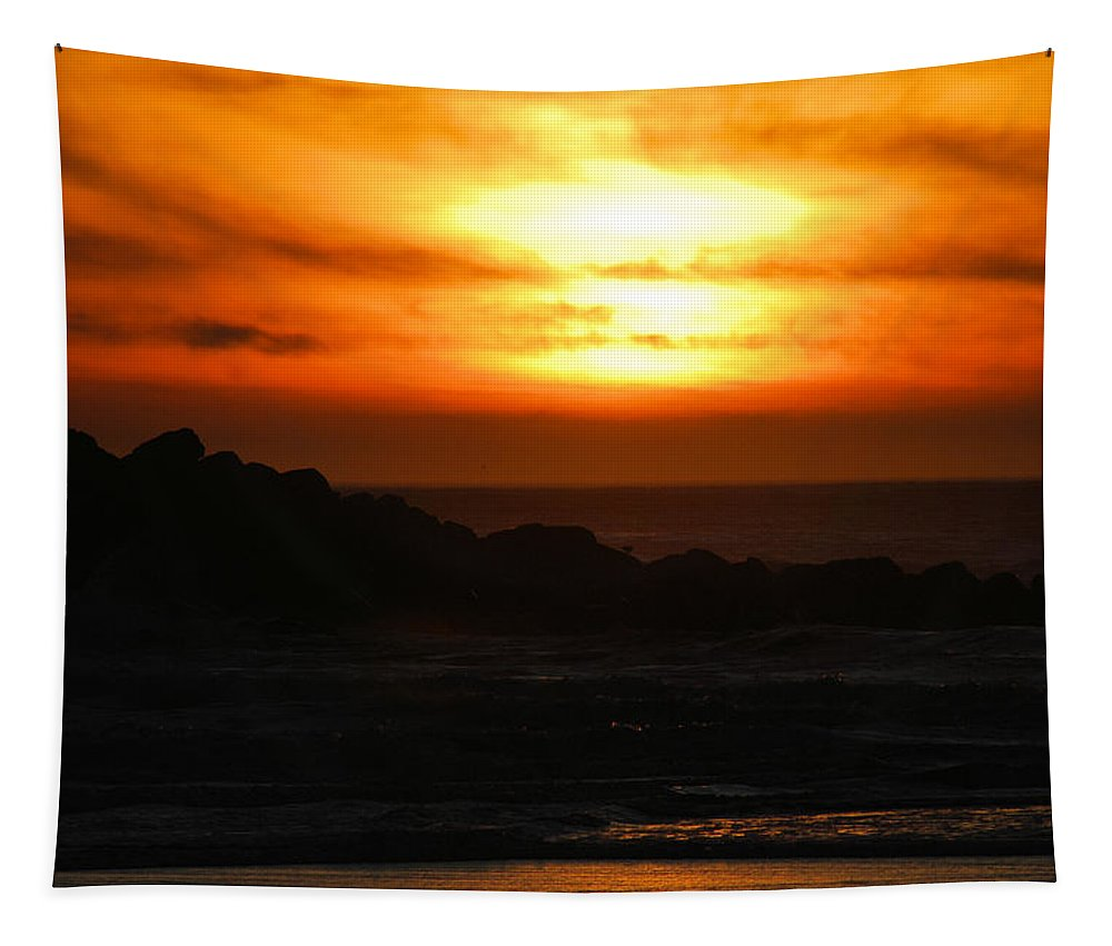 Sunset Tapestry featuring the photograph Fishing Vessel At Sunset by Michael Merry