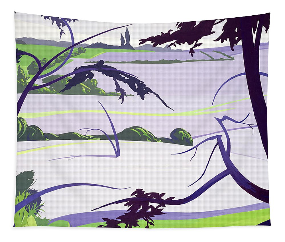 Field; Landscape; Fields; Rayne; Tree; Trees; Green; Grass; Bush; Bushes; Leaf; Leafs; Flax; Landscapes Tapestry featuring the painting Flax Fields - Rayne by Derek Crow