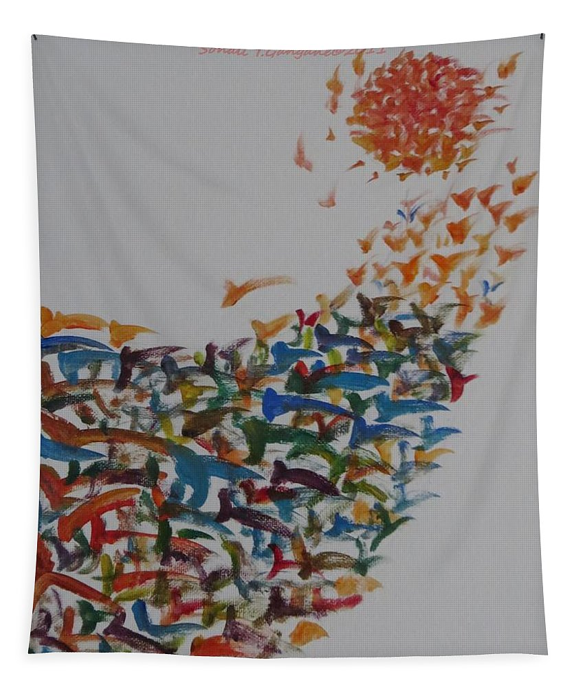 Birds Aiming At The Sun Tapestry featuring the painting Fleet Of Birds by Sonali Gangane