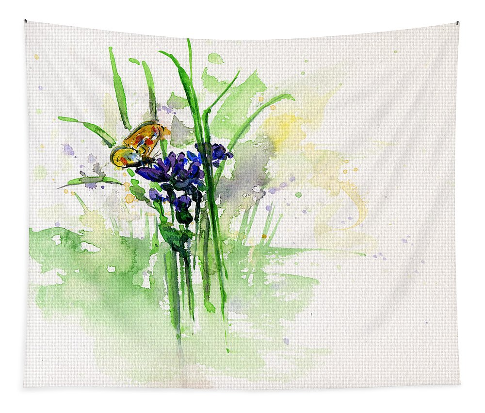 Butterfly Tapestry featuring the painting Flowers And Butterfly by John D Benson