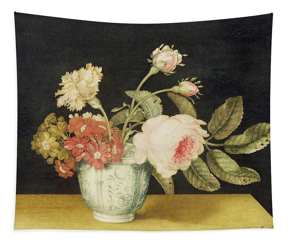 Flowers Tapestry featuring the painting Flowers In A Delft Jar by Alexander Marshal
