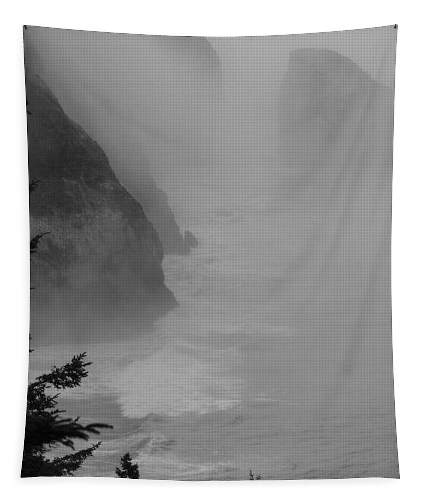 B&w Tapestry featuring the photograph Fog And Cliffs Of The Oregon Coast by Mick Anderson