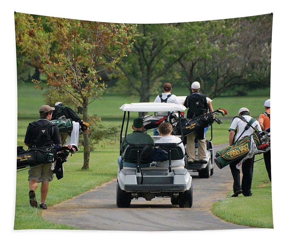 Golf Tapestry featuring the photograph Following The Team by Thomas Woolworth