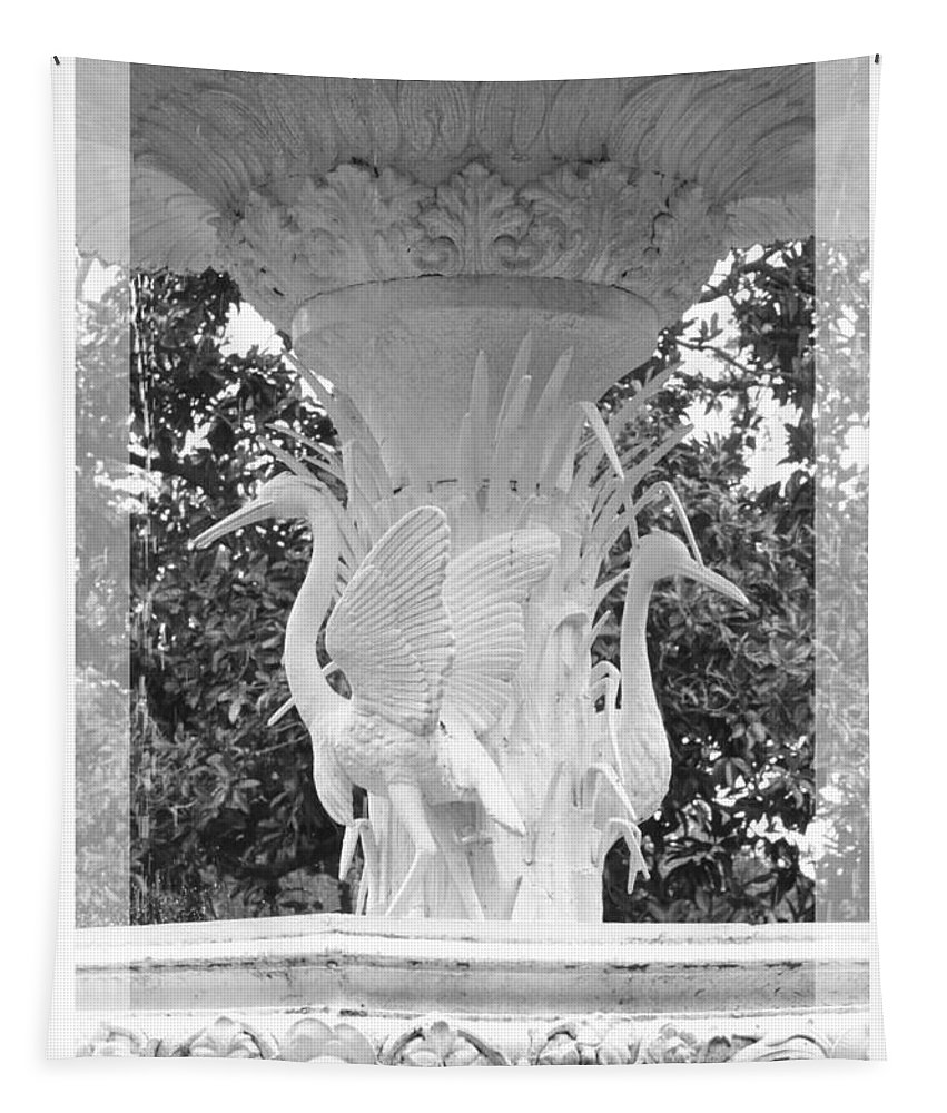 Forsyth Park Tapestry featuring the photograph Forsyth Fountain - Black And White 4 by Carol Groenen