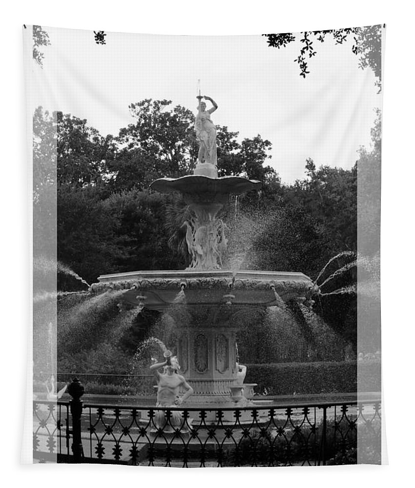 Forsyth Park Tapestry featuring the photograph Forsyth Park Fountain - Black And White by Carol Groenen