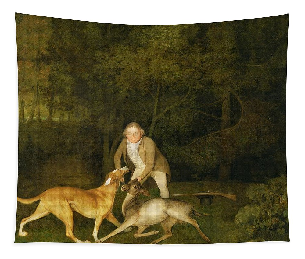 Freeman Tapestry featuring the painting Freeman - The Earl Of Clarendon's Gamekeeper by George Stubbs