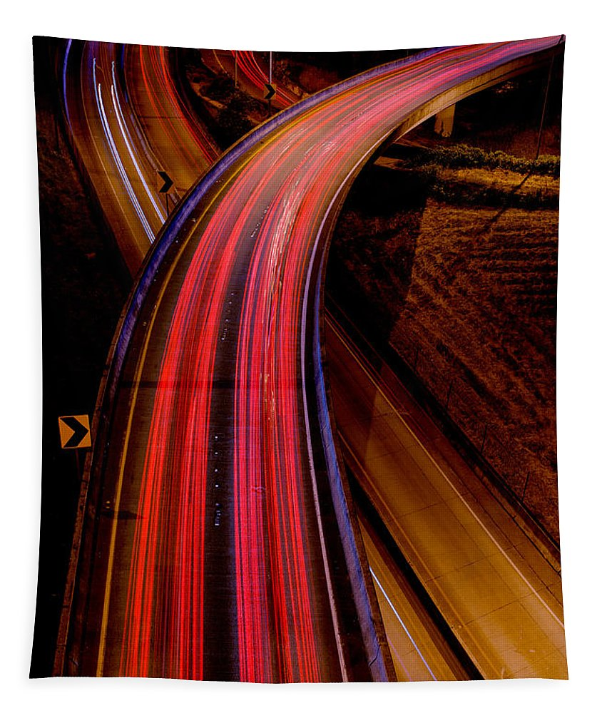 Abstract Of Freeway Tapestry featuring the photograph Freeway Lights 1 by Mike Penney