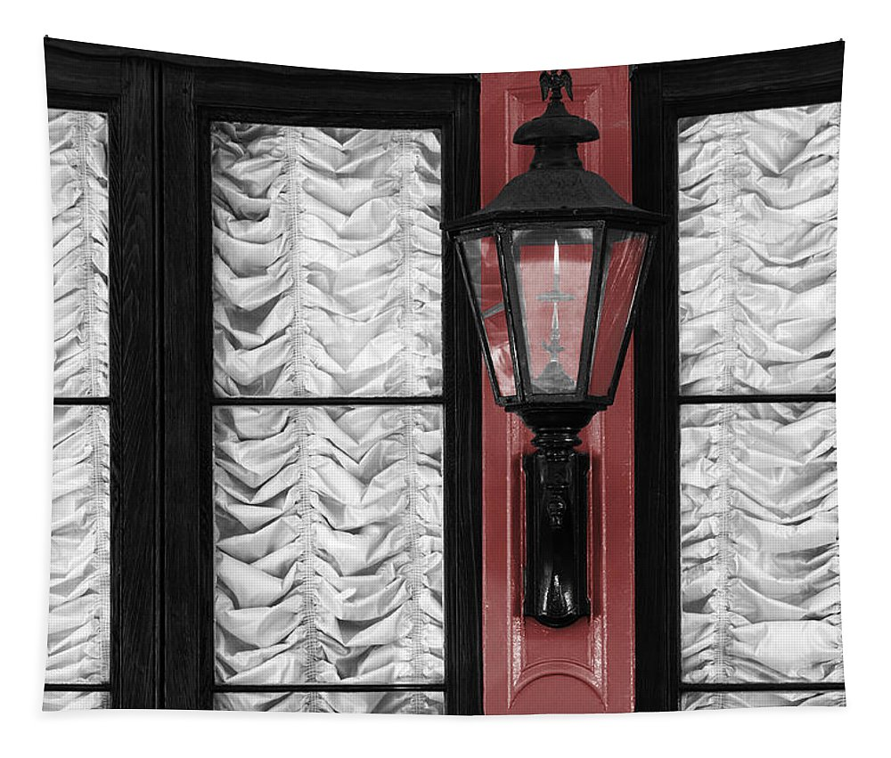 French Quarter Tapestry featuring the photograph French Quarter Gas Lamp With Red by VJ Lair