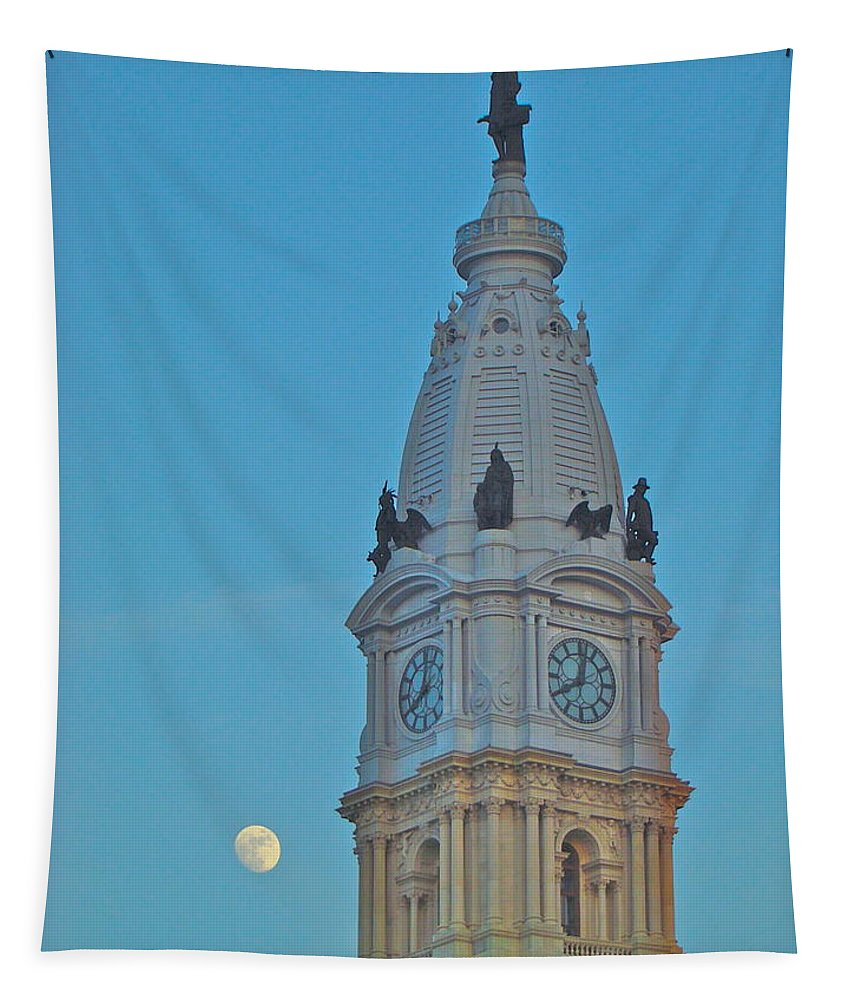 City Hall Philadelphia Nightime Full Moon Tapestry featuring the photograph Full Moon And Billy Penn by Alice Gipson