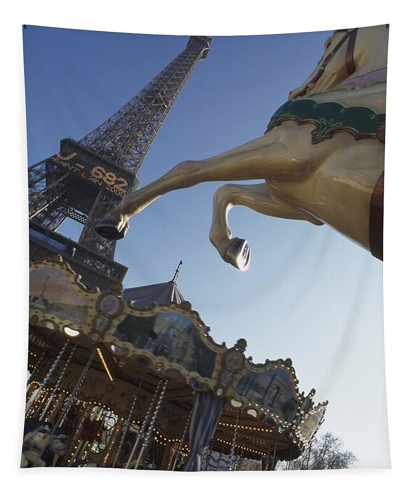 Photography Tapestry featuring the photograph Funfair Near Eiffel Tower by Axiom Photographic