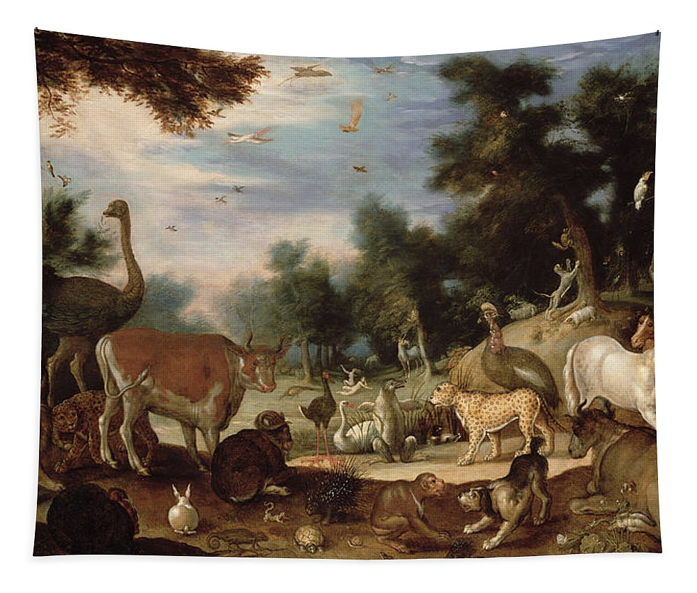 Garden Tapestry featuring the painting Garden Of Eden by Jacob Bouttats