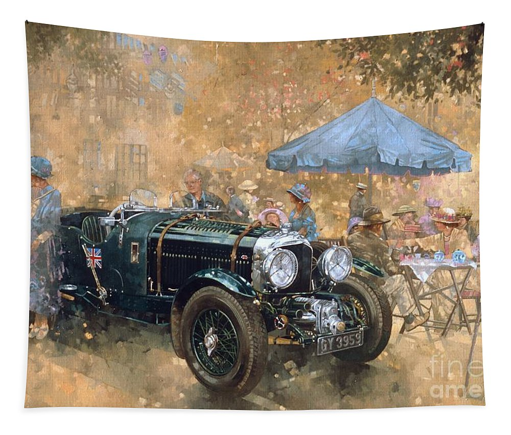Bentley Tapestry featuring the painting Garden Party With The Bentley by Peter Miller