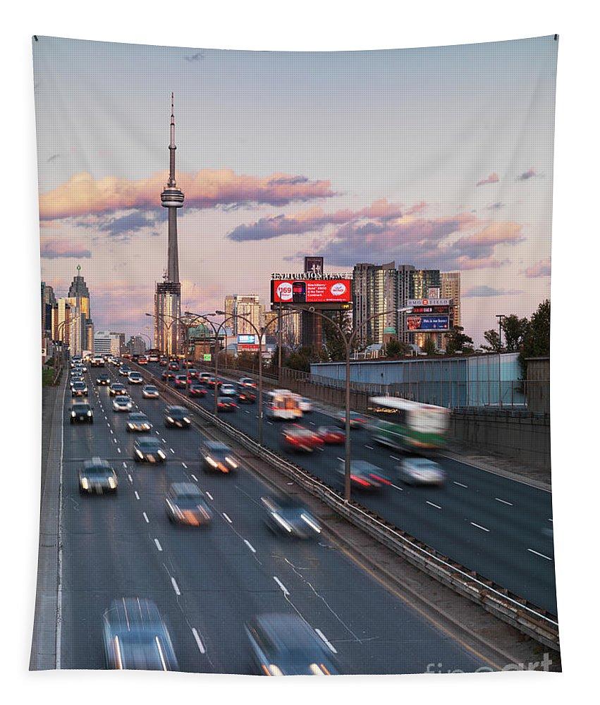 Toronto Tapestry featuring the photograph Gardiner Expressway Toronto by Oleksiy Maksymenko