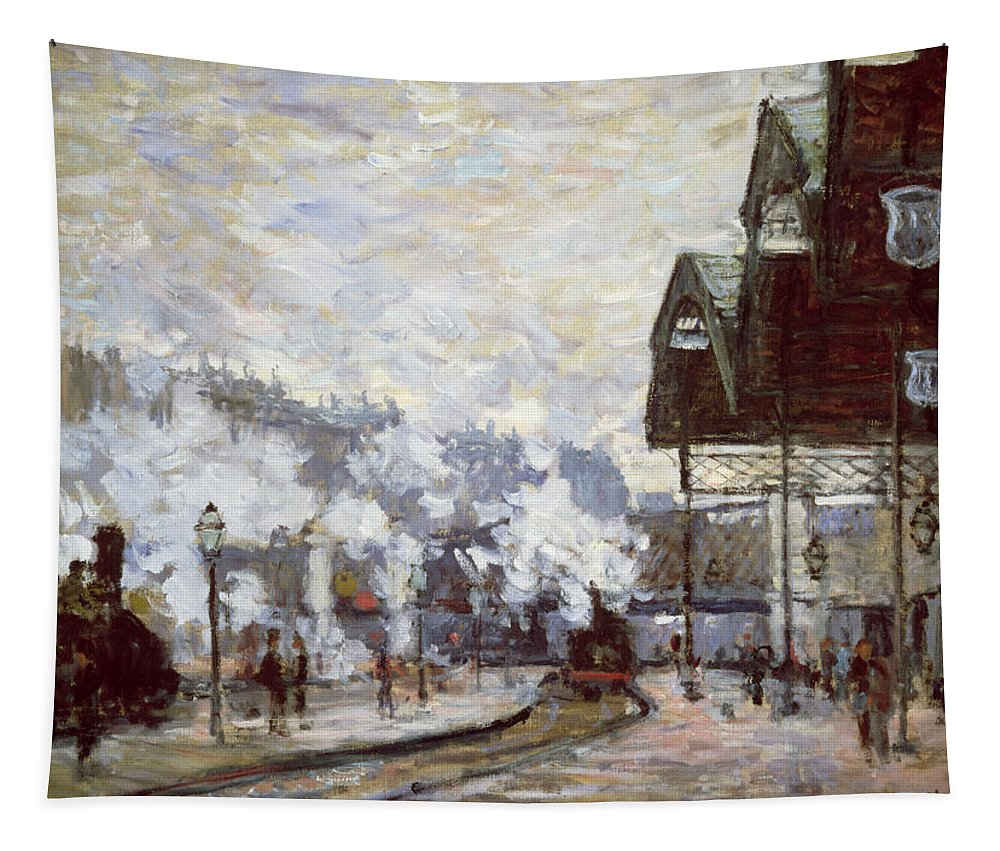 Gare Tapestry featuring the painting Gare Saint-lazare by Claude Monet