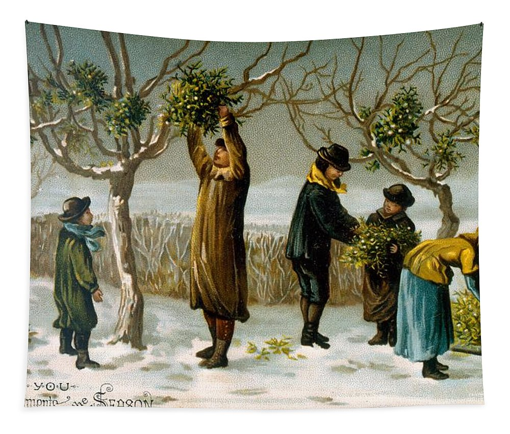 Mistletoe Tapestry featuring the painting Gathering Mistletoe by English School
