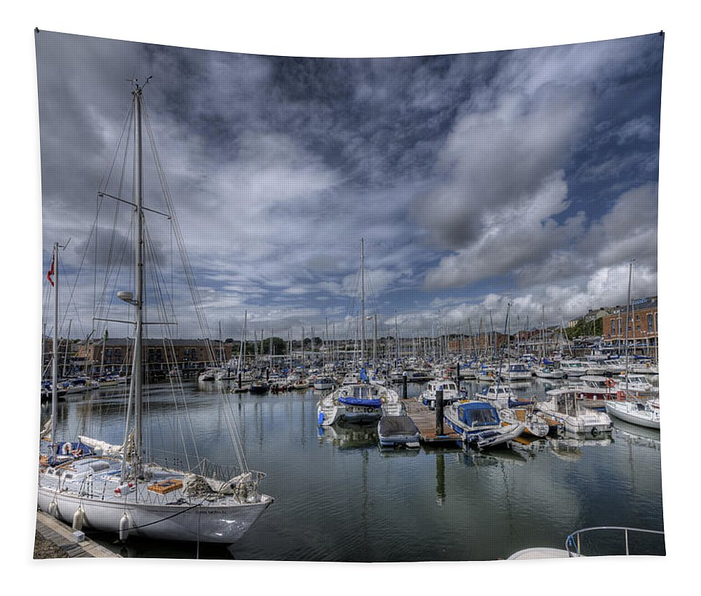 Gipsy Moth Iv Tapestry featuring the photograph Gipsy Moth Iv At Milford Haven Marina by Steve Purnell