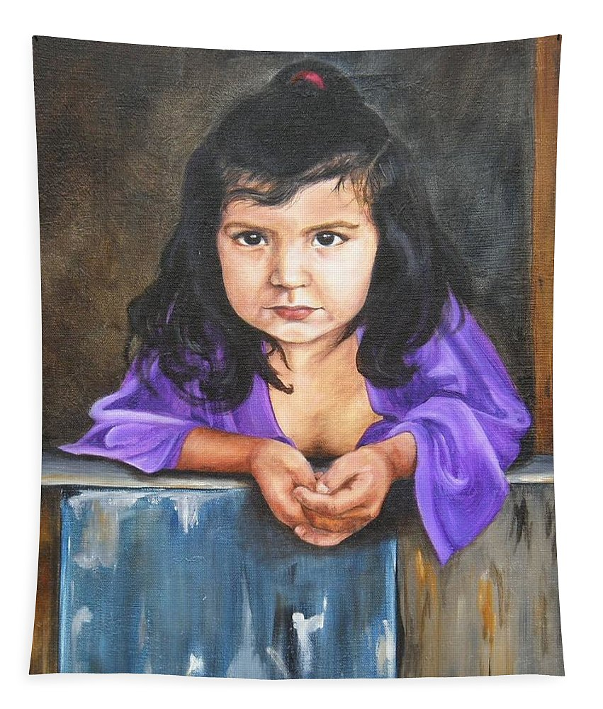 Portrait Tapestry featuring the painting Girl From San Luis by Lori Brackett