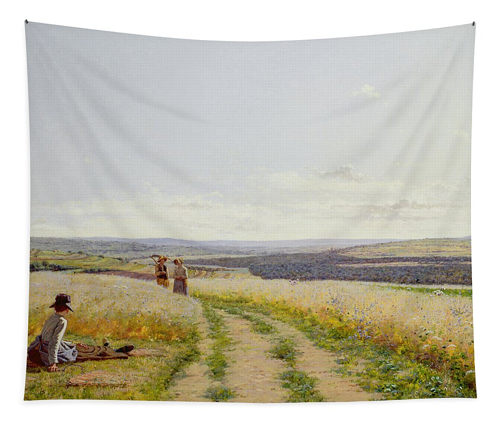 Girl Tapestry featuring the painting Girl In The Fields  by Jean F Monchablon