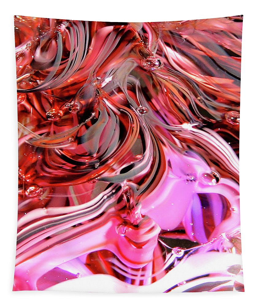 Digital Art Tapestry featuring the photograph Glass Macro Pinks by David Patterson