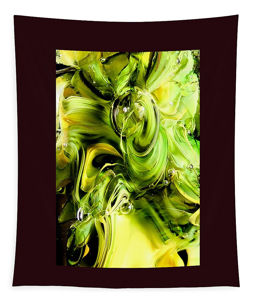 Glass Tapestry featuring the photograph Glass Macro Yellow And Greens II by David Patterson