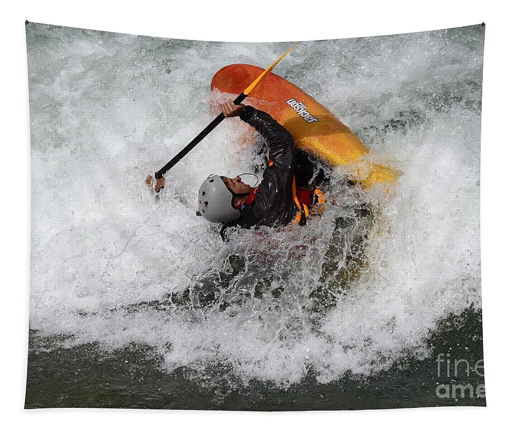 White Water Tapestry featuring the photograph Going All Out by Bob Christopher