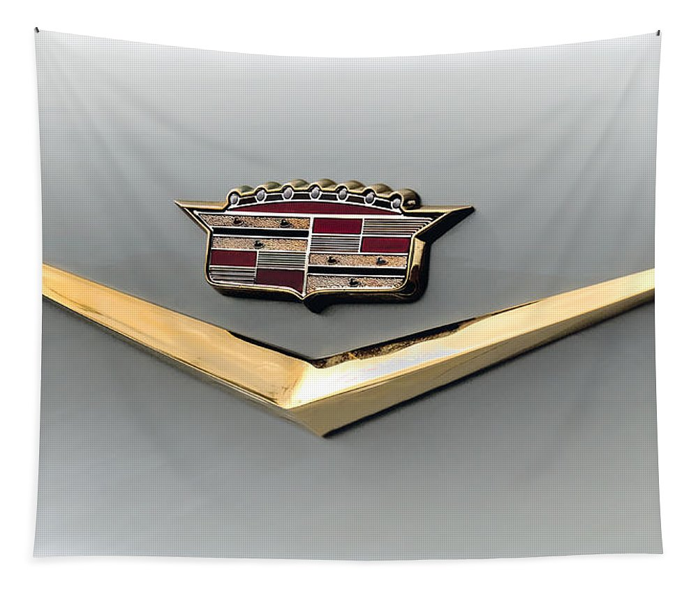 Cadillac Tapestry featuring the digital art Gold Badge Cadillac by Douglas Pittman