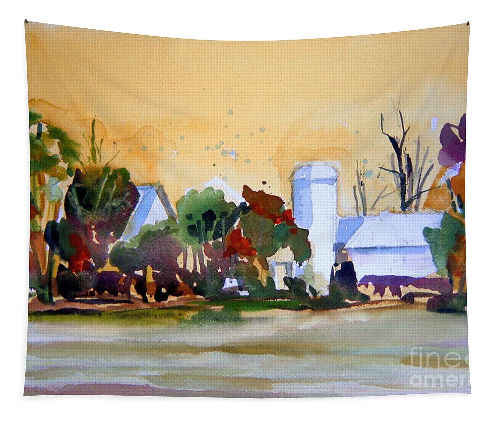 Barn Tapestry featuring the painting Golden Autumn Farm by Mindy Newman