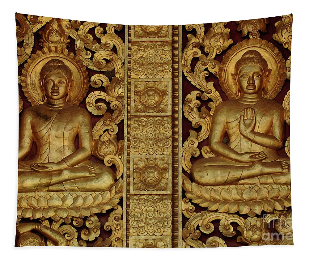 Two Buddhas Tapestry featuring the photograph Golden Buddhas by Bob Christopher
