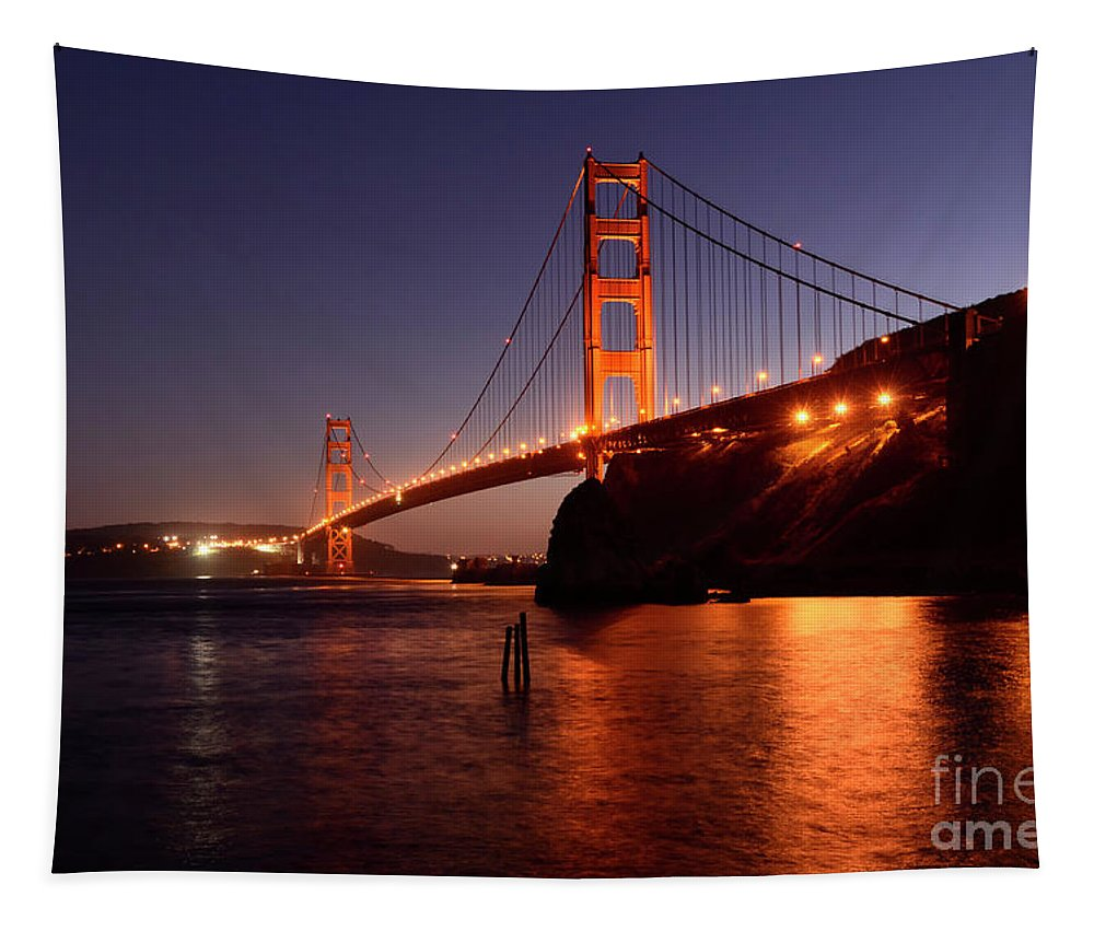 San Francisco Tapestry featuring the photograph Golden Gate Bridge At Night 2 by Bob Christopher